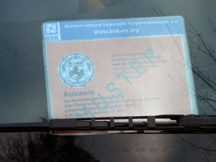 Beispiel für Parkausweis  Apothekenbelieferung